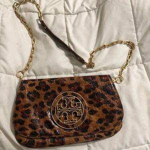 Tory burch leopard leather crossbody purse